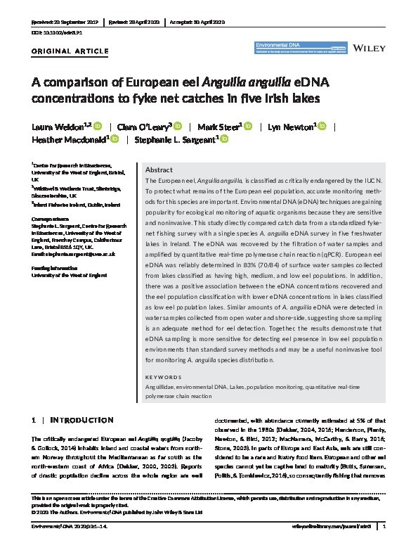 A comparison of European eel Anguilla anguilla eDNA concentrations to fyke net catches in five Irish lakes Thumbnail