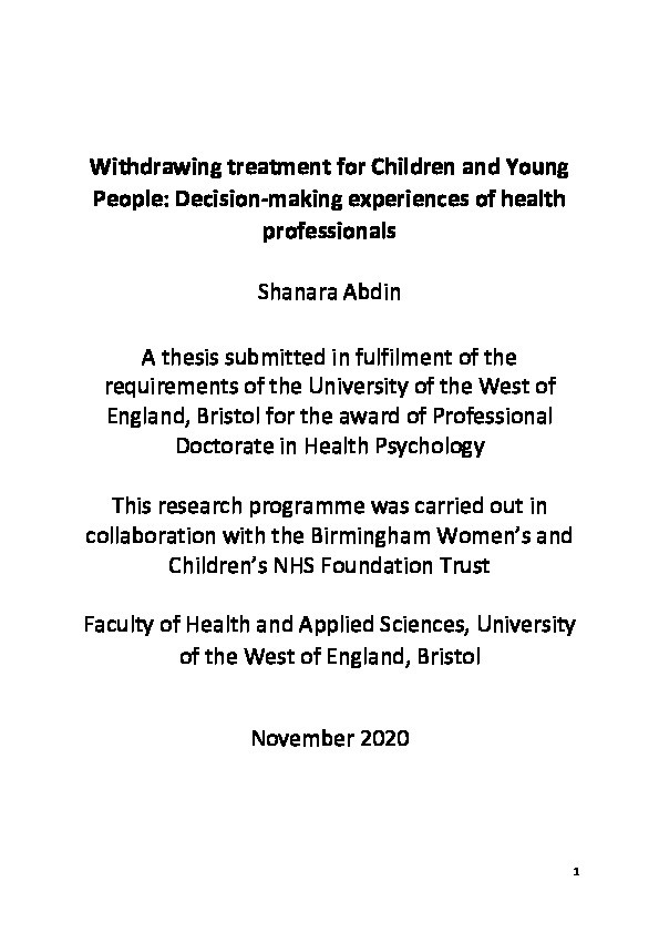 Withdrawing treatment for children and young people: Decision-making experiences of health professionals Thumbnail