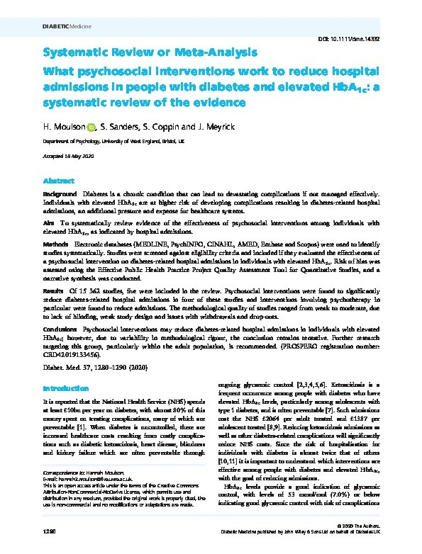 What psychosocial interventions work to reduce hospital admissions in people with diabetes and elevated HbA1c: a systematic review of the evidence Thumbnail
