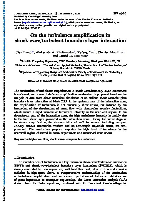 On the turbulence amplification in shock-wave/turbulent boundary layer interaction Thumbnail