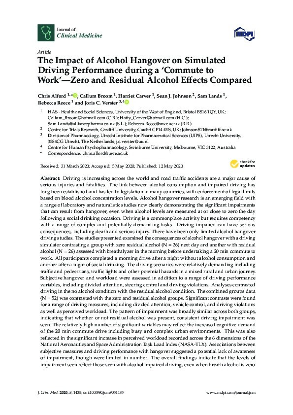 The impact of alcohol hangover on simulated driving performance during a 'commute to work'—zero and residual alcohol effects compared Thumbnail