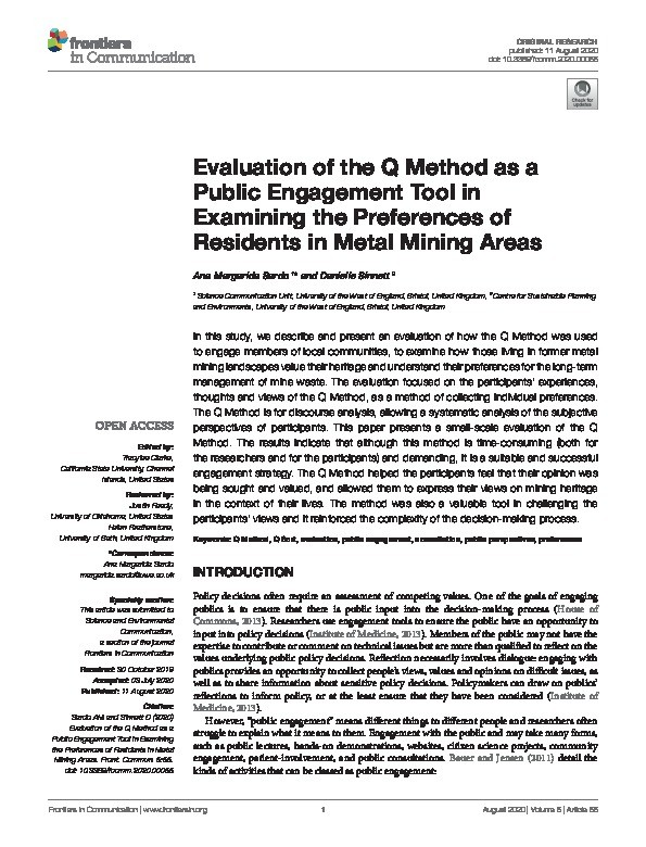 Evaluation of the Q Method as a public engagement tool in examining the preferences of residents in metal mining areas Thumbnail