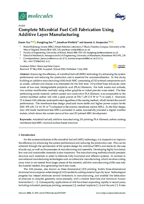 Complete microbial fuel cell fabrication using additive layer manufacturing Thumbnail