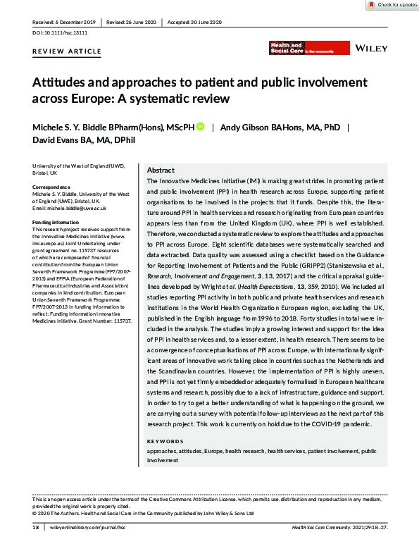 Attitudes and approaches to patient and public involvement across Europe: A systematic review Thumbnail