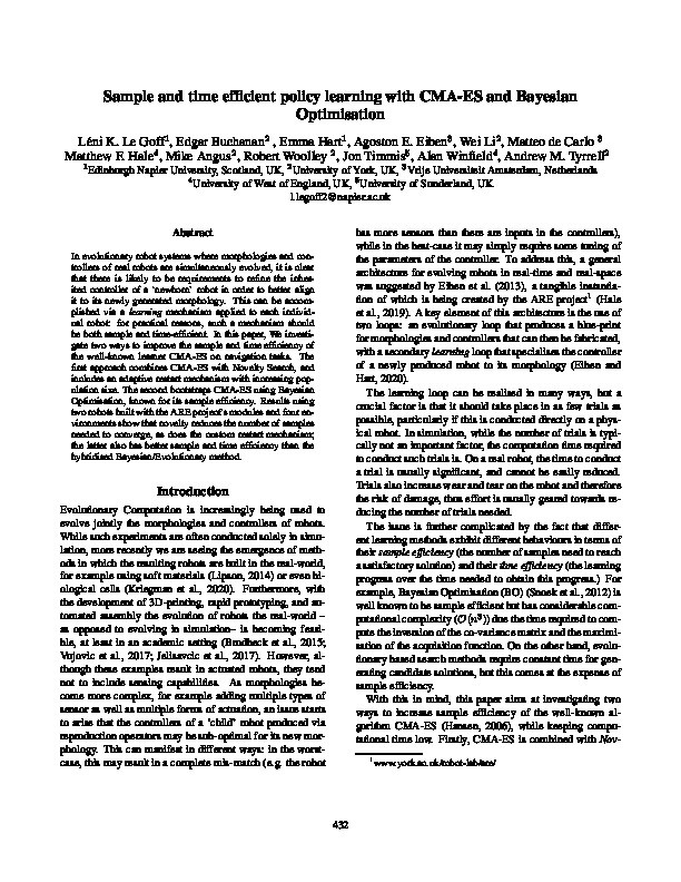 Sample and time efficient policy learning with CMA-ES and Bayesian Optimisation Thumbnail