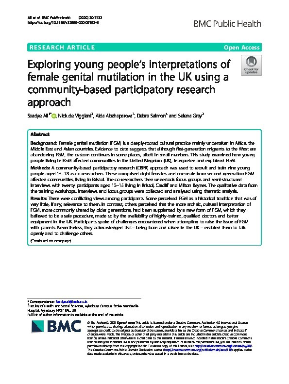 Exploring young people's interpretations of female genital mutilation in the UK using a community-based participatory research approach Thumbnail