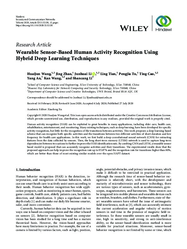 Wearable sensor-based human activity recognition using hybrid deep learning techniques Thumbnail