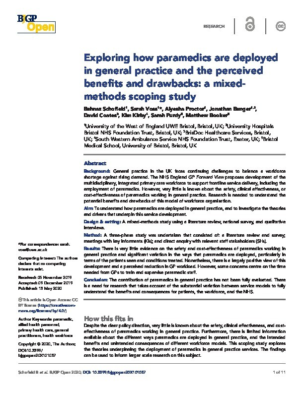 Exploring how paramedics are deployed in general practice and the perceived benefits and drawbacks: a mixed-methods scoping study Thumbnail
