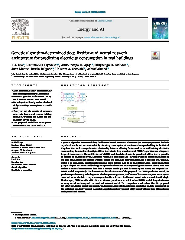 Genetic algorithm-determined deep feedforward neural network architecture for predicting electricity consumption in real buildings Thumbnail