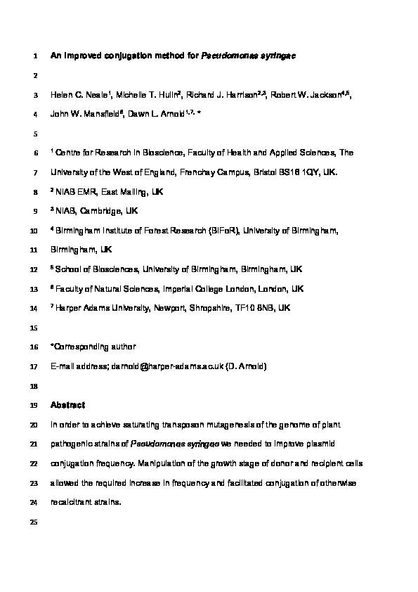 An improved conjugation method for Pseudomonas syringae Thumbnail