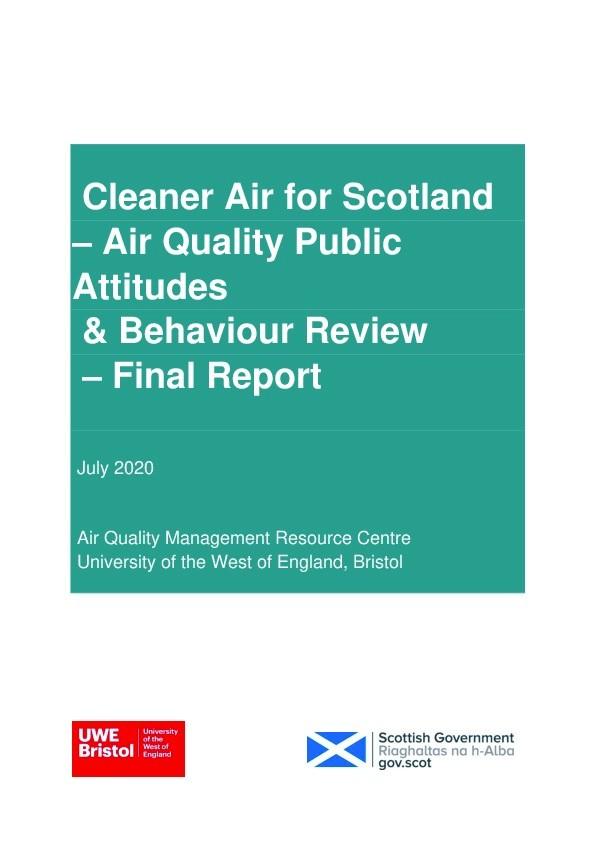 Cleaner air for Scotland – Air quality public attitudes & behaviour review – Final report Thumbnail