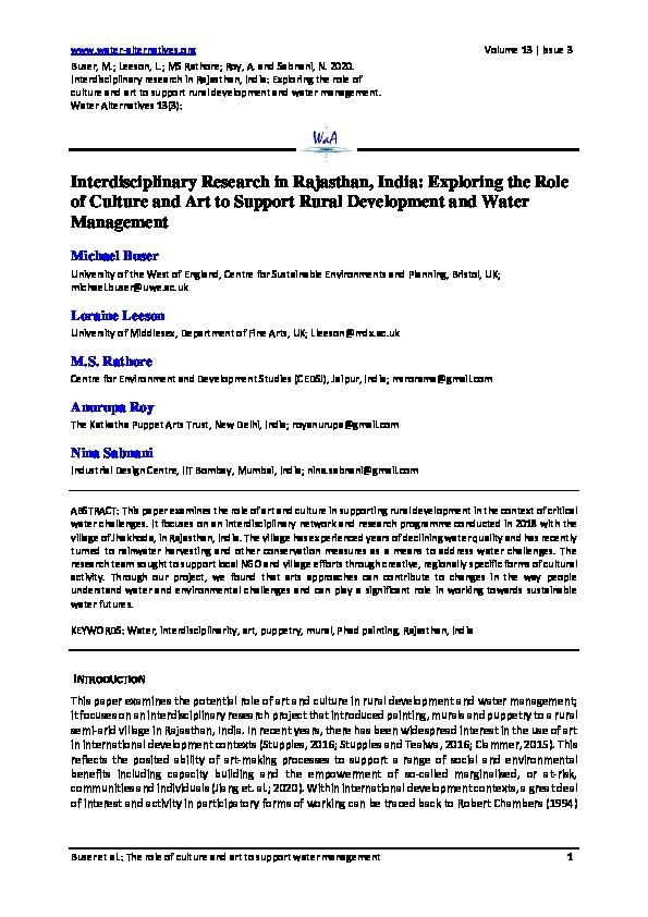 Interdisciplinary Research in Rajasthan, India: Exploring the Role of Culture and Art to Support Rural Development and Water Management Thumbnail