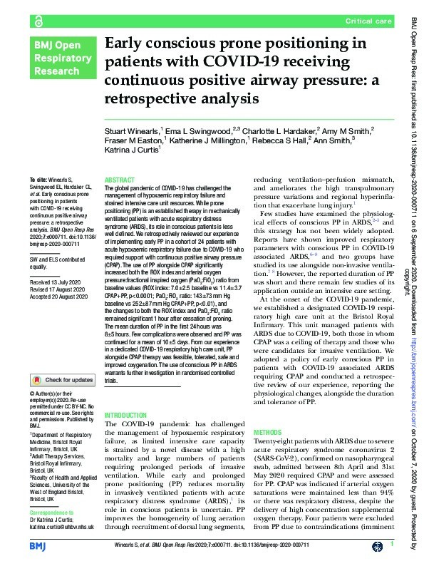 Early conscious prone positioning in patients with COVID-19 receiving continuous positive airway pressure: A retrospective analysis Thumbnail
