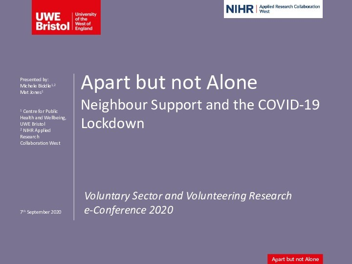 Apart but not Alone: Neighbour support and the COVID-19 lockdown Thumbnail