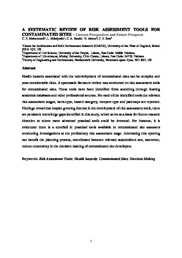 A systematic review of risk assessment tools for contaminated sites – Current perspectives and future prospects Thumbnail