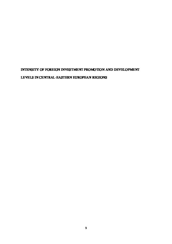 Intensity of foreign investment promotion and development levels in Central–Eastern European regions Thumbnail