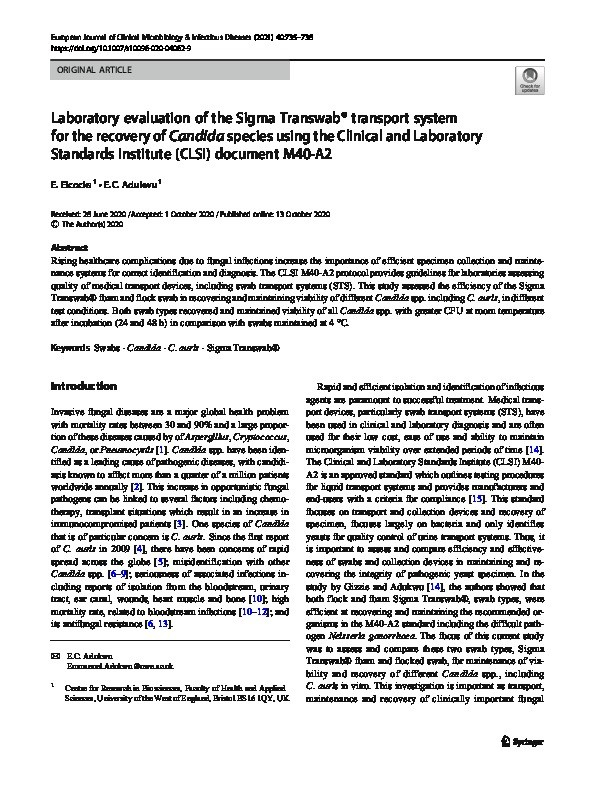 Laboratory evaluation of the Sigma Transwab® transport system for the recovery of Candida species using the Clinical and Laboratory Standards Institute (CLSI) document M40-A2 Thumbnail
