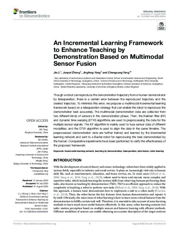 An incremental learning framework to enhance teaching by demonstration based on multimodal sensor fusion Thumbnail