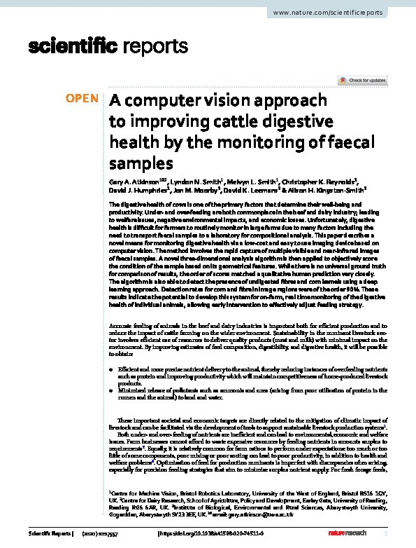 A computer vision approach to improving cattle digestive health by the monitoring of faecal samples Thumbnail