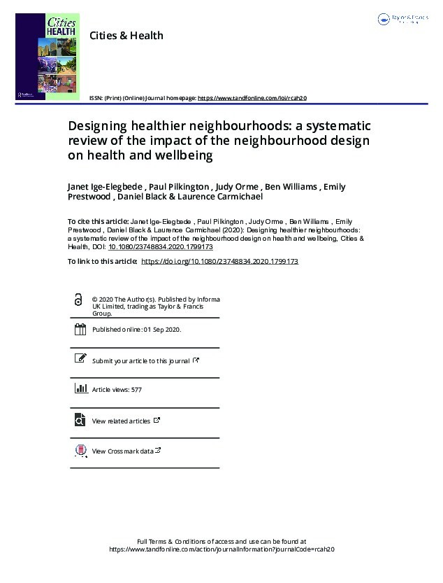 Designing healthier neighbourhoods: A systematic review of the impact of the neighbourhood design on health and wellbeing Thumbnail
