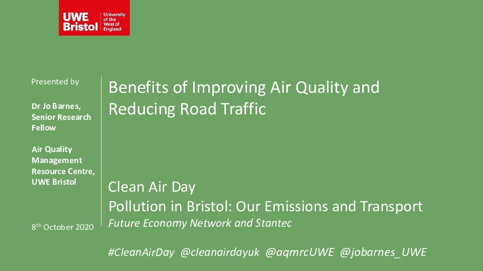 Benefits of improving air quality and reducing road traffic Thumbnail