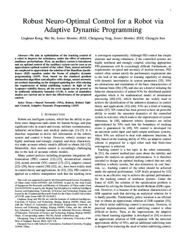Robust neurooptimal control for a robot via adaptive dynamic programming Thumbnail