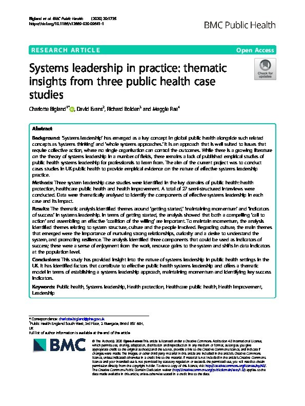 Systems leadership in practice:  Thematic insights from three public health case studies Thumbnail