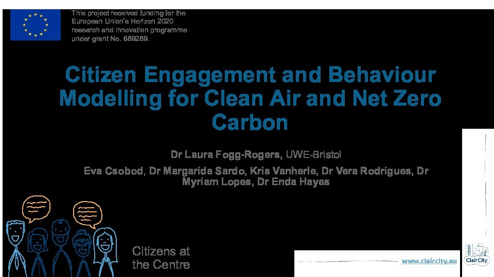 Citizen engagement and behaviour modelling for clean air and net zero carbon Thumbnail