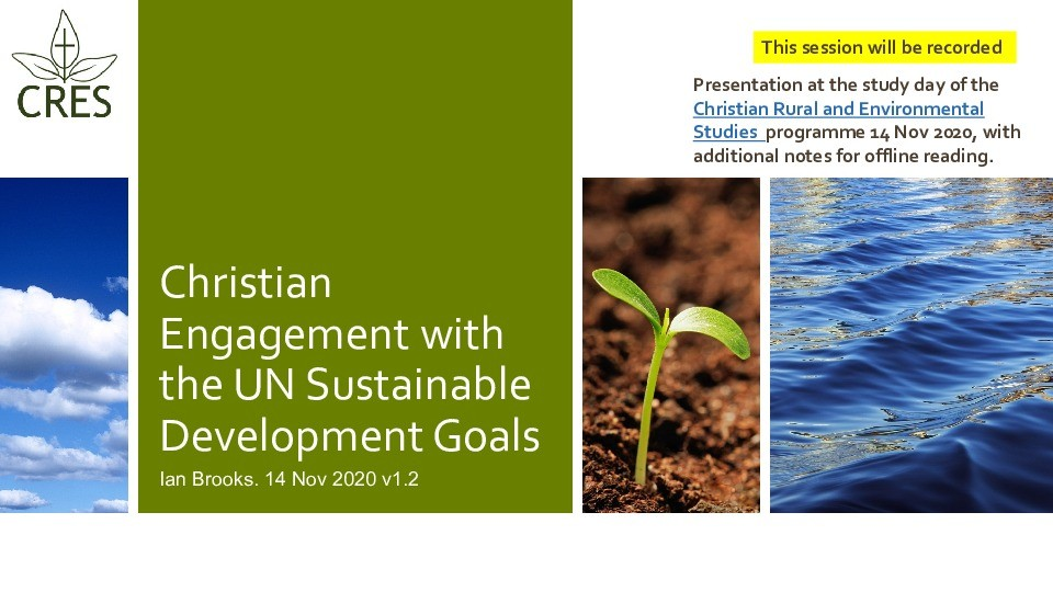 Christian engagement with the UN Sustainable Development Goals Thumbnail