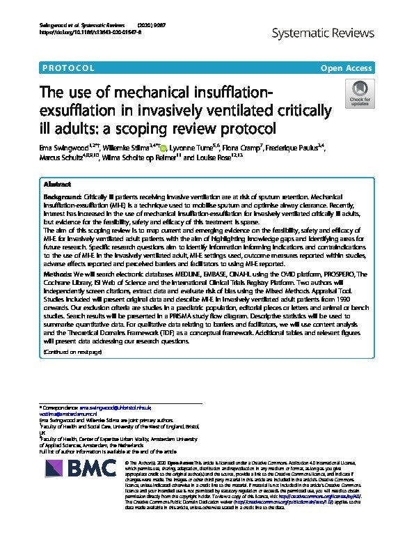 The use of mechanical insufflation-exsufflation in invasively ventilated critically ill adults: A scoping review protocol Thumbnail