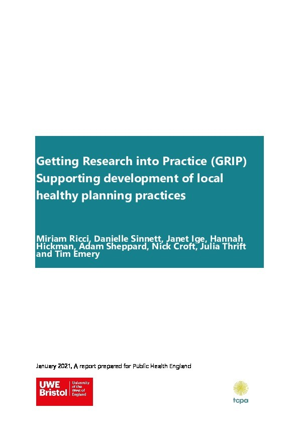 Getting Research into Practice (GRIP): Supporting development of local healthy planning practices Thumbnail