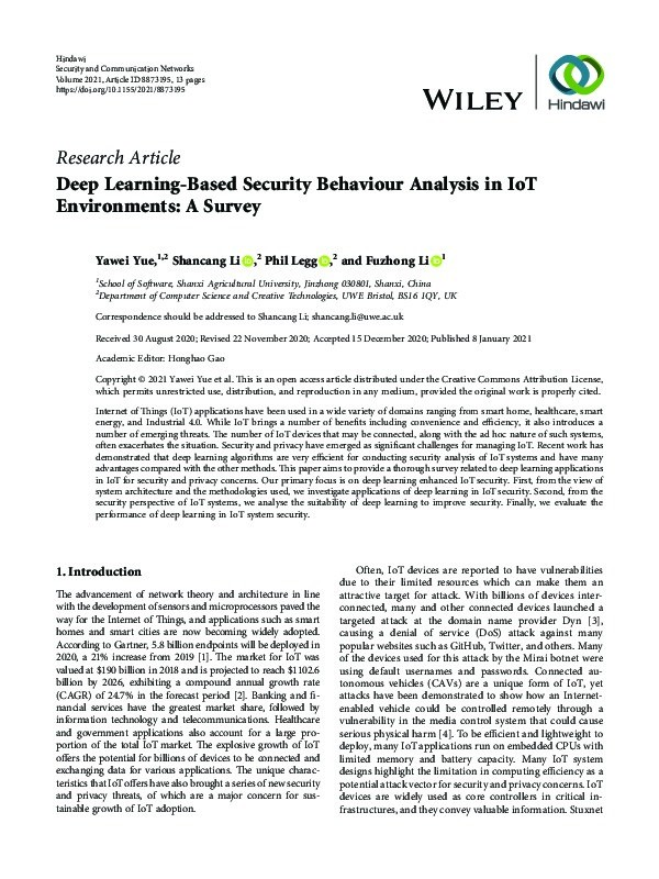 Deep learning-based security behaviour analysis in IoT environments: A survey Thumbnail