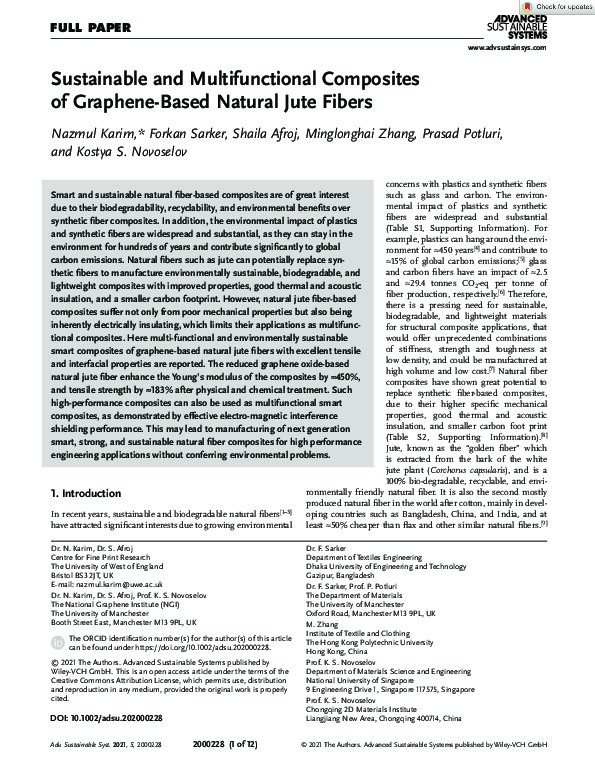 Sustainable and multifunctional composites of graphene-based natural jute fibers Thumbnail