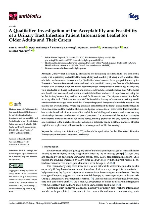 A qualitative investigation of the acceptability and feasibility of a urinary tract infection patient information leaflet for older adults and their carers Thumbnail