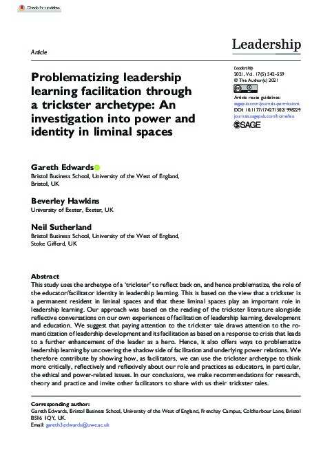 Problematizing leadership learning facilitation through a trickster archetype: An investigation into power and identity in liminal spaces Thumbnail