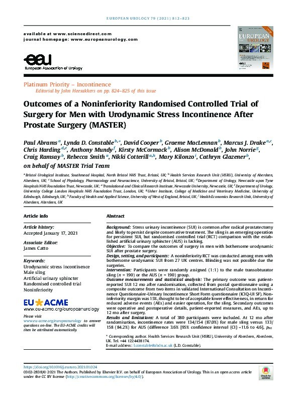 Outcomes of a noninferiority randomised controlled trial of surgery for men with urodynamic stress incontinence after prostate surgery (MASTER) Thumbnail