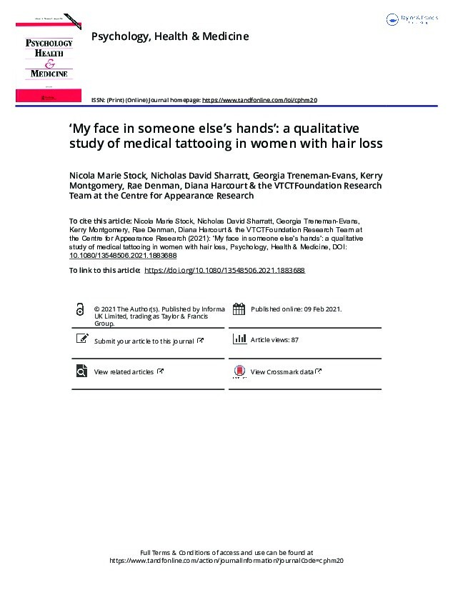 'My face in someone else's hands': A qualitative study of medical tattooing in women with hair loss Thumbnail