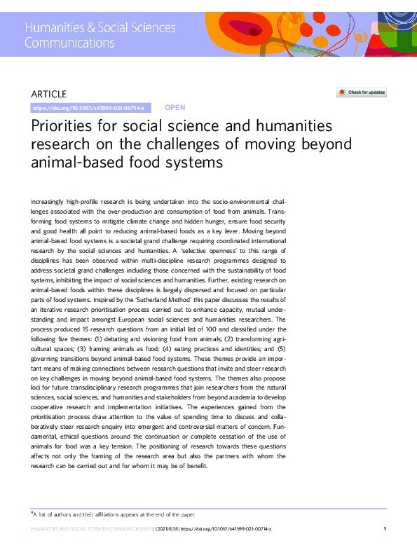Priorities for social science and humanities research on the challenges of moving beyond animal-based food systems Thumbnail