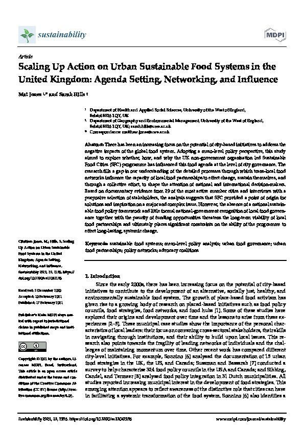 Scaling up action on urban sustainable food systems in the United Kingdom: Agenda setting, networking, and influence Thumbnail