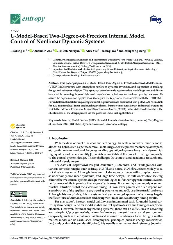 U-model-based two-degree-of-freedom internal model control of nonlinear dynamic systems Thumbnail