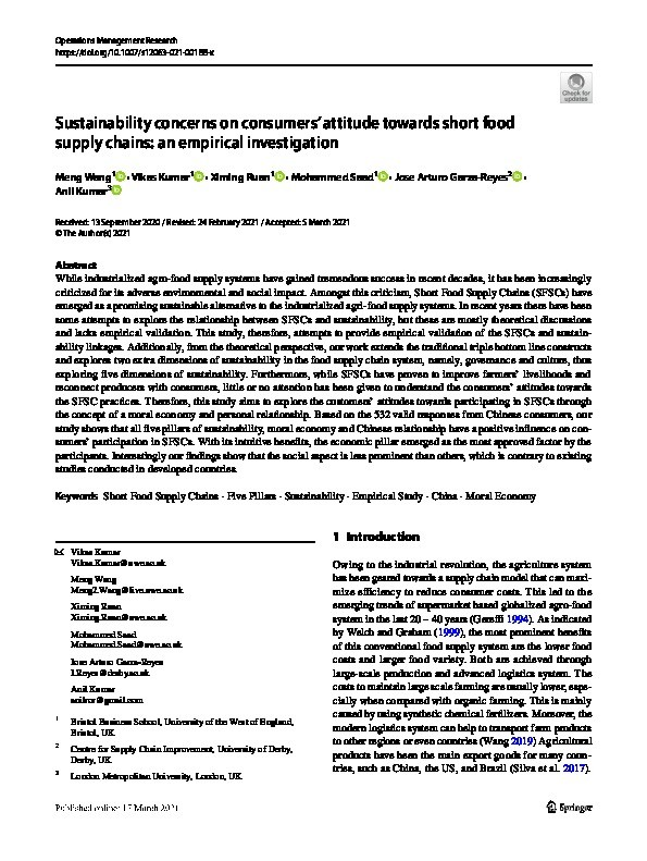 Sustainability concerns on consumers' attitude towards short food supply chains: An empirical investigation Thumbnail