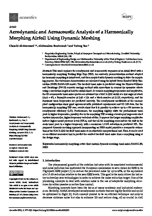 Aerodynamic and aeroacoustic analysis of a harmonically morphing airfoil using dynamic meshing Thumbnail