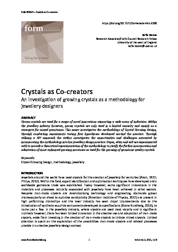 Crystals as co-creators: An investigation of growing crystals as a methodology for jewellery designers Thumbnail