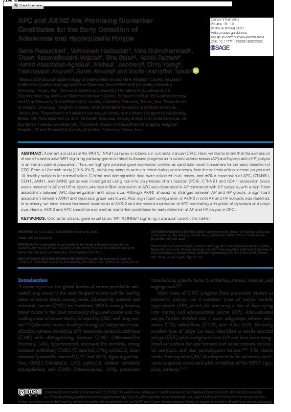 APC and AXIN2 are promising biomarker candidates for the early detection of adenomas and hyperplastic polyps Thumbnail