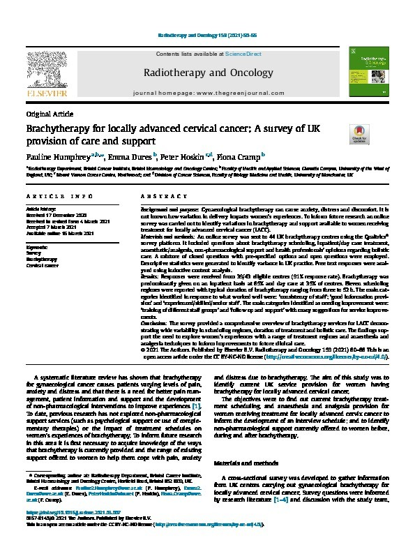 Brachytherapy for locally advanced cervical cancer: A survey of UK provision of care and support Thumbnail