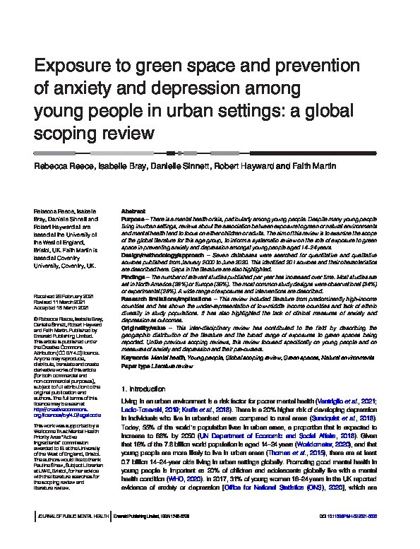 Exposure to green space and prevention of anxiety and depression among young people in urban settings: A global scoping review Thumbnail