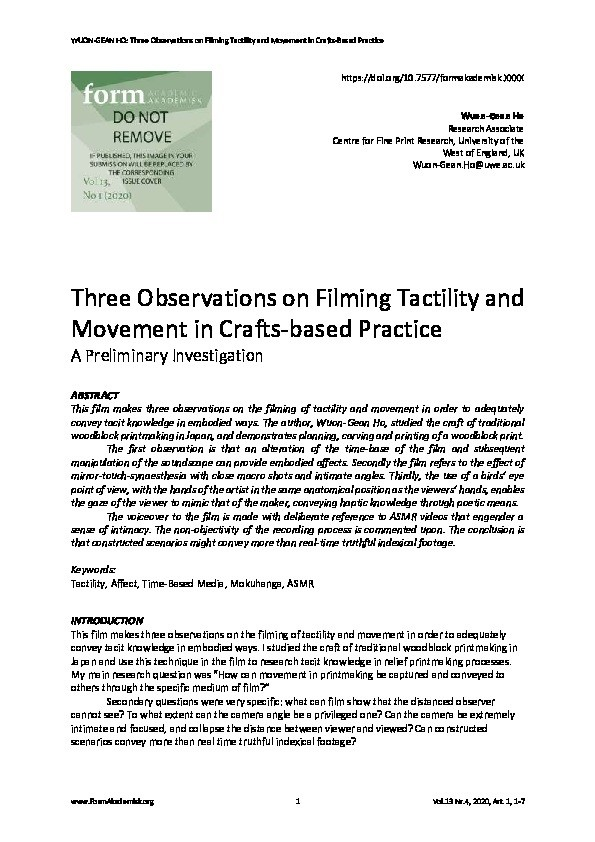 Three observations on filming tactility and movement in crafts-based practice:  A preliminary investigation Thumbnail