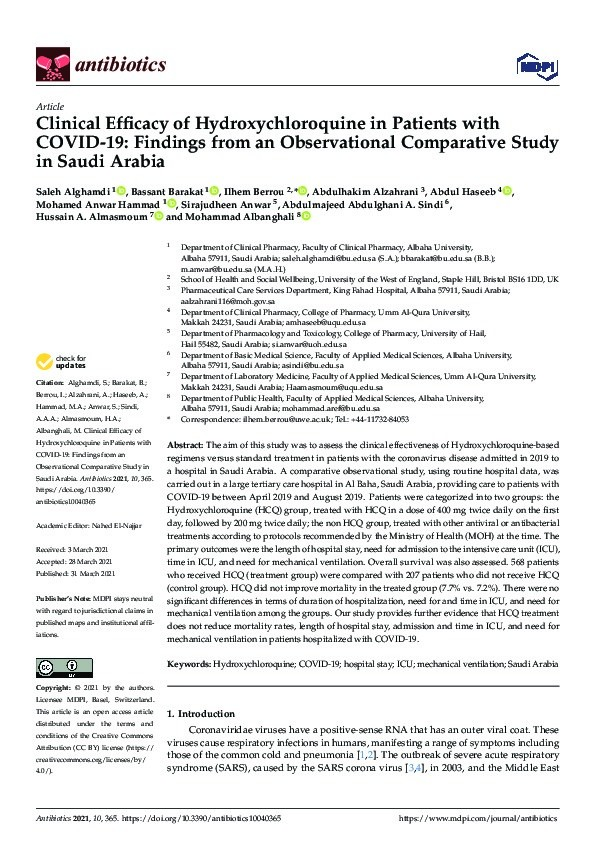 Clinical efficacy of hydroxychloroquine in patients with COVID-19: Findings from an observational comparative study in Saudi Arabia Thumbnail