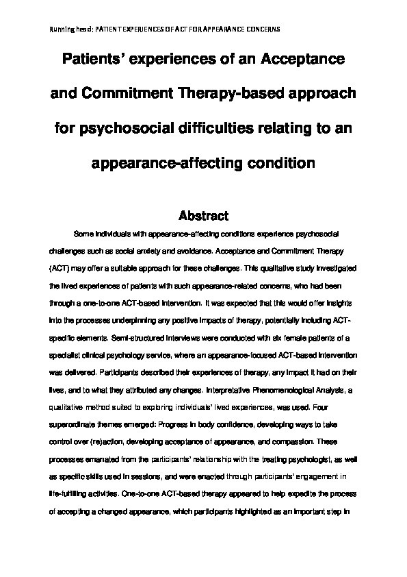 Patients' experiences of an acceptance and commitment therapy-based approach for psychosocial difficulties relating to an appearance-affecting condition Thumbnail