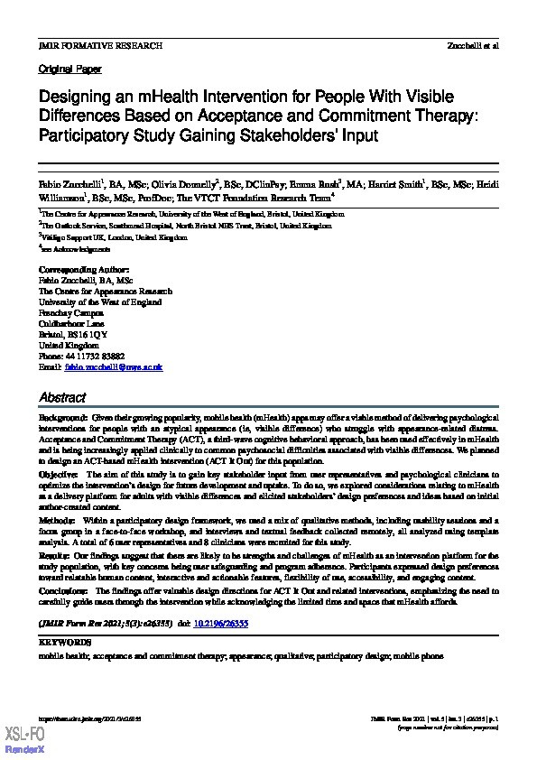 Designing an mHealth intervention for people with visible differences based on acceptance and commitment therapy: Participatory study gaining stakeholders' input Thumbnail